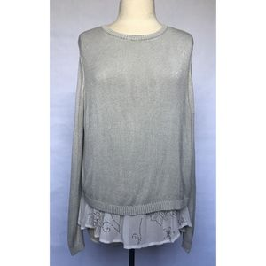 Chan Luu Grey Sweater with Chiffon Underlay - M